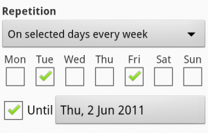 Settings for an event on selected days of the week